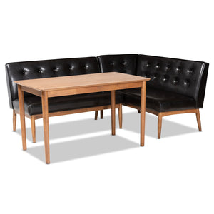 Baxton Studio Arvid Mid-Century Modern Dark Brown Faux Leather Upholstered 3-Piece Wood Dining Nook Set