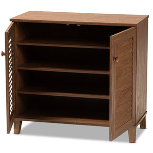 Baxton Studio Coolidge Modern and Contemporary Walnut Finished 4-Shelf Wood Shoe Storage Cabinet