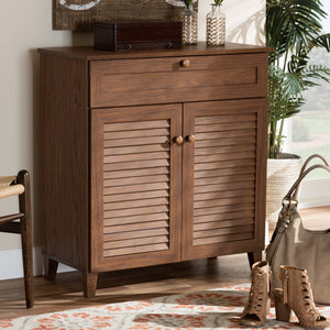 Baxton Studio Coolidge Modern and Contemporary Walnut Finished 4-Shelf Wood Shoe Storage Cabinet with Drawer