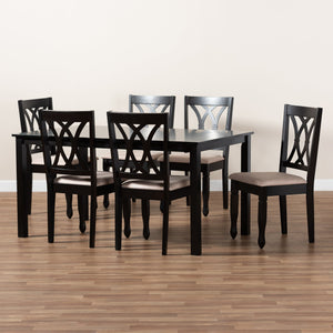 Baxton Studio Reneau Modern and Contemporary Sand Fabric Upholstered Espresso Brown Finished Wood 7-Piece Dining Set