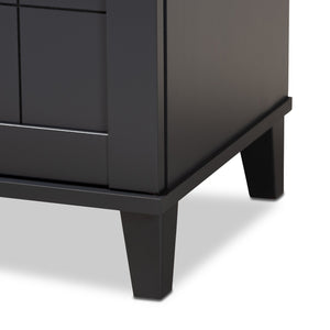 Baxton Studio Glidden Modern and Contemporary Dark Grey Finished 4-Shelf Wood Shoe Storage Cabinet