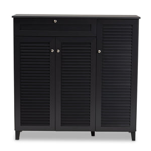 Baxton Studio Coolidge Modern and Contemporary Dark Grey Finished 11-Shelf Wood Shoe Storage Cabinet with Drawer