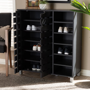 Baxton Studio Shirley Modern and Contemporary Dark Grey Finished 2-Door Wood Shoe Storage Cabinet with Open Shelves