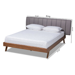 Baxton Studio Brita Mid-Century Modern Grey Fabric Upholstered Walnut Finished Wood King Size Bed
