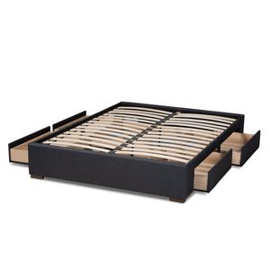 Baxton Studio Leni Modern and Contemporary Dark Grey Fabric Upholstered 4-Drawer King Size Platform Storage Bed Frame