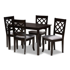 Baxton Studio Verner Modern and Contemporary Grey Fabric Upholstered Espresso Brown Finished 5-Piece Wood Dining Set