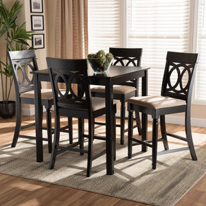 Baxton Studio Verina Modern and Contemporary Sand Fabric Upholstered Espresso Brown Finished 5-Piece Wood Pub Set