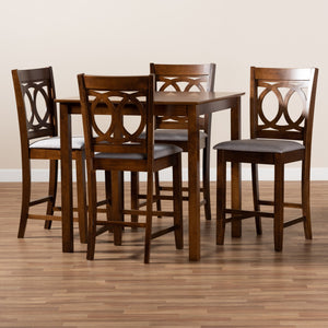 Baxton Studio Lenoir Modern and Contemporary Grey Fabric Upholstered Walnut Brown Finished 5-Piece Wood Pub Set