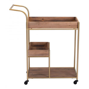 Bar Cart & Tray Brown