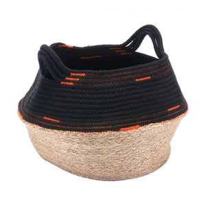 Ife Basket With Handles Black & Beige