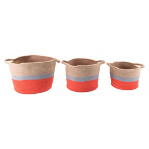 Ilesa Set Of 3 Baskets With Handles Multicolor