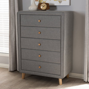 Baxton Studio Jonesy Mid-Century Grey Fabric Upholstered 5-Drawer Chest