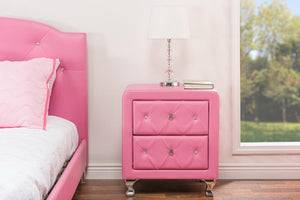 Baxton Studio Stella Crystal Tufted Pink Leather Modern Nightstand
