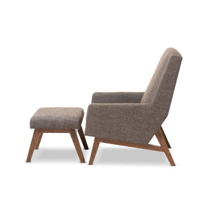 Baxton Studio Aberdeen Mid-Century Modern Walnut Wood Finishing and Gravel Fabric Upholstered Lounge Chair and Ottoman Set