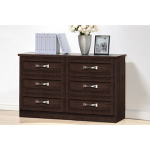 Baxton Studio Colburn Modern and Contemporary 6-Drawer Dark Brown Finish Wood Storage Dresser