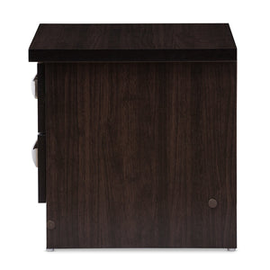 Baxton Studio Colburn Modern and Contemporary 2-Drawer Dark Brown Finish Wood Storage Nightstand Bedside Table