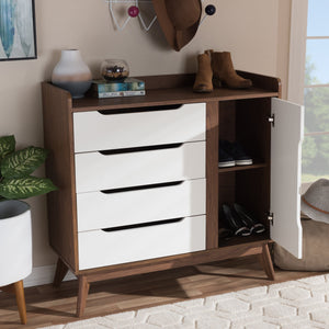 Baxton Studio Brighton Mid-Century Modern White and Walnut Wood Storage Shoe Cabinet