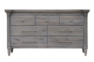 Sunset Trading Fawn Gray 7 Drawer Wood Dresser