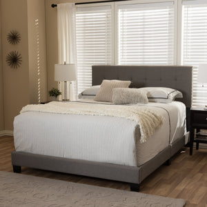 Baxton Studio Brookfield Modern and Contemporary Grey Fabric Upholstered Grid-tufting King Size Bed