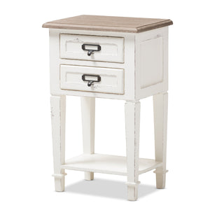 Baxton Studio Dauphine Provincial Style Weathered Oak and White Wash Distressed Finish Wood Nightstand