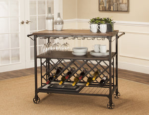 Sunset Trading Rustic Elm Industrial Wine Cart