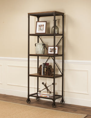 Sunset Trading Rustic Elm Industrial 4 Shelf Bookcase