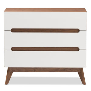 Baxton Studio Calypso Mid-Century Modern White and Walnut Wood 3-Drawer Storage Chest