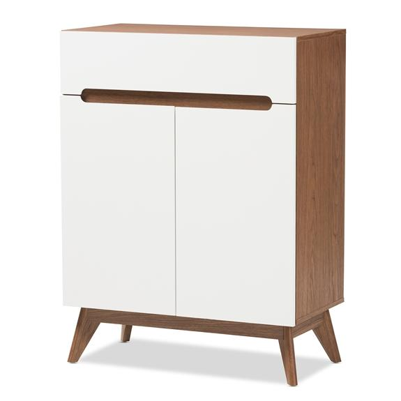 Baxton Studio Calypso Mid-Century Modern White and Walnut Wood Storage Shoe Cabinet