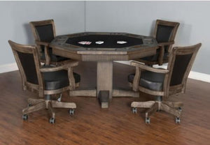 Sunny Designs Poker & Dining Table Set Tobacco Leaf Poker with Table & Matching Chairs