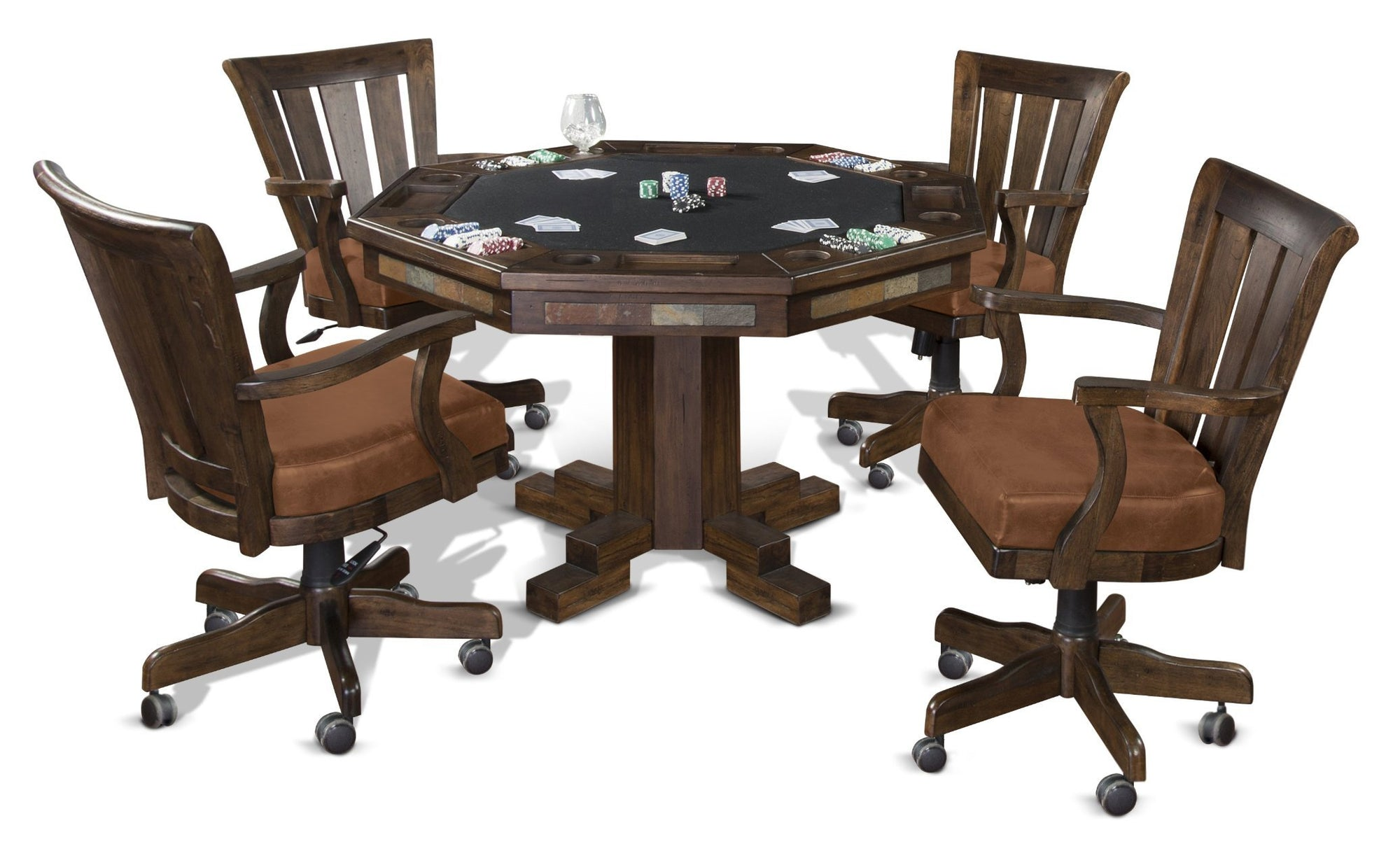 Sunny Designs Poker Table Set Santa Fe (Pedestal Base) with Matching Game Chairs