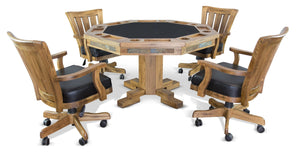 Sunny Designs Sedona (Pedestal Base) Poker & Dining Table Set with Matching Chairs