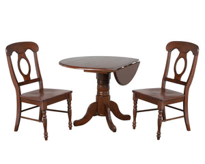 "Sunset Trading 3 Piece 42"" Round Drop Leaf Dining Set Napoleon Chairs"
