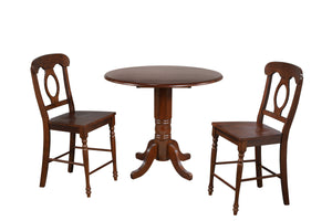 "Sunset Trading 3 Piece Andrews 42"" Round Drop Leaf Pub Table Set"
