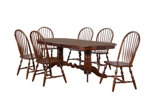 Sunset Trading 7 Piece Double Pedestal Extendable Dining Set