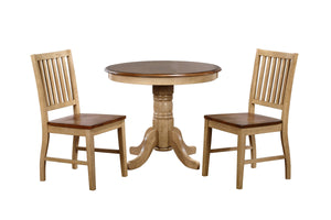 "Sunset Trading 3 Piece Brook 36"" Round Dining Set with Slat Back Chairs"
