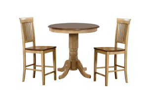 "Sunset Trading 3 Piece Brook 36"" Round Pub Table Set with Fancy Slat Stools"