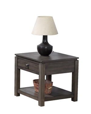 Sunset Trading Shades of Gray 3 Piece Living Room Table Set with Drawers and Shelves