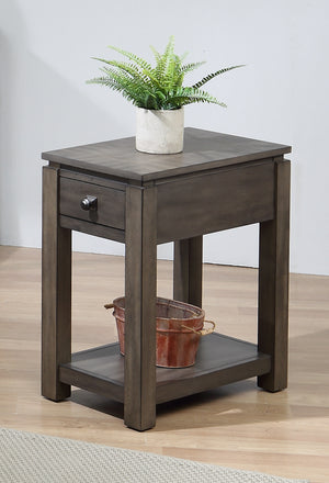 Sunset Trading Shades of Gray Narrow End Table with Drawer and Shelf