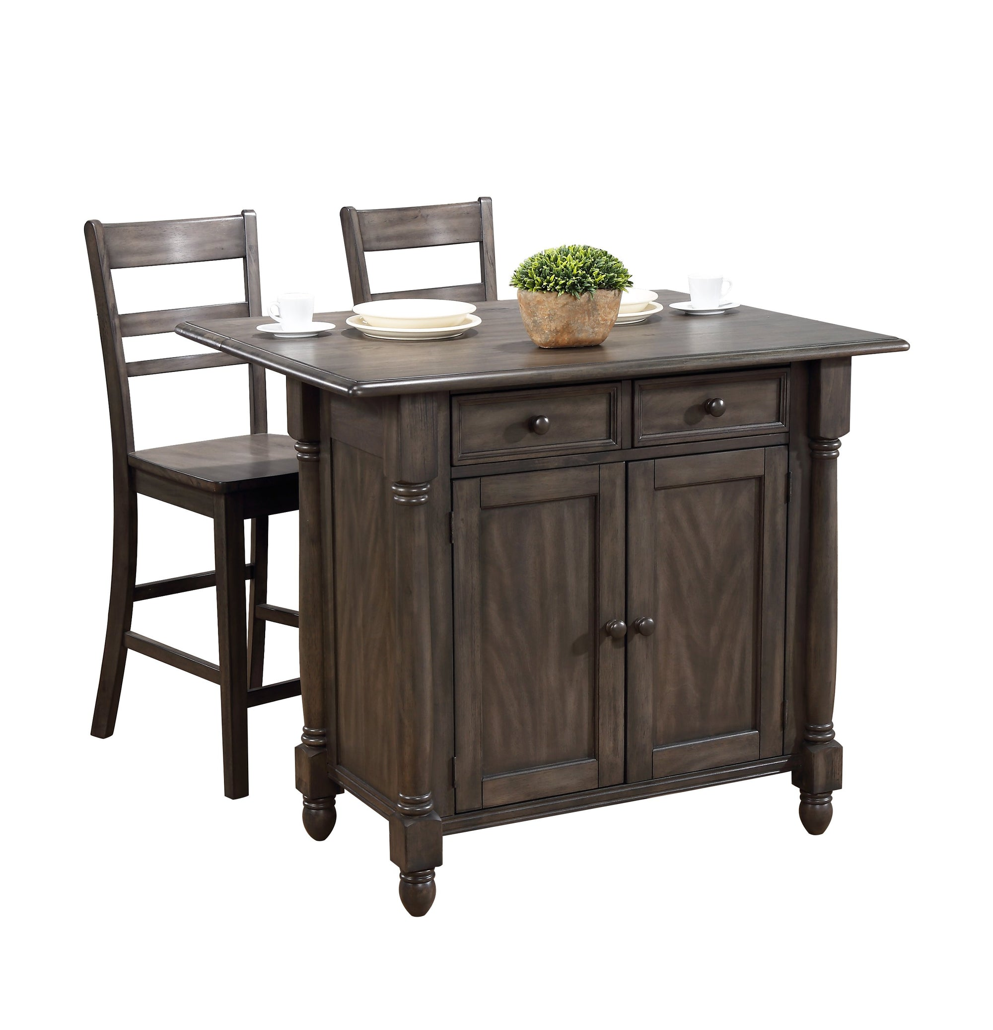 Sunset Trading Shades of Gray Drop Leaf Kitchen Island Set with 2 Stools