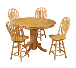 Sunset Trading 5 Piece Pedestal Butterfly Leaf Pub Table Set with Swivel Barstools