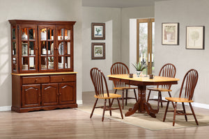 Sunset Trading 6 Piece Pedestal Extendable Dining Set with China Cabinet by Sunset Trading - HomeKingz.com - Online furniture shop with the best prices & premium customer support!
