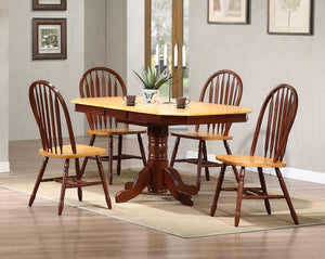 Sunset Trading 5 Piece Pedestal Extendable Dining Set with Arrowback Chairs