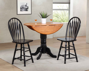 "Sunset Trading 3 Piece Drop Leaf Pub Table Set with 24"" Swivel Barstools"