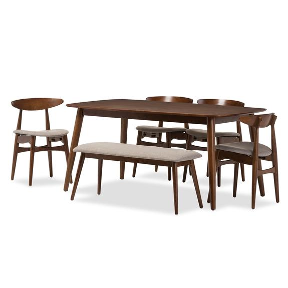 "Baxton Studio Flora Mid-Century Modern Light Grey Fabric and ""Oak"" Medium Brown Finishing Wood 6-Piece Dining Set"
