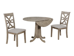 "Sunset Trading French Twist 3 Piece 40"" Round Drop Leaf Dining Table Set"
