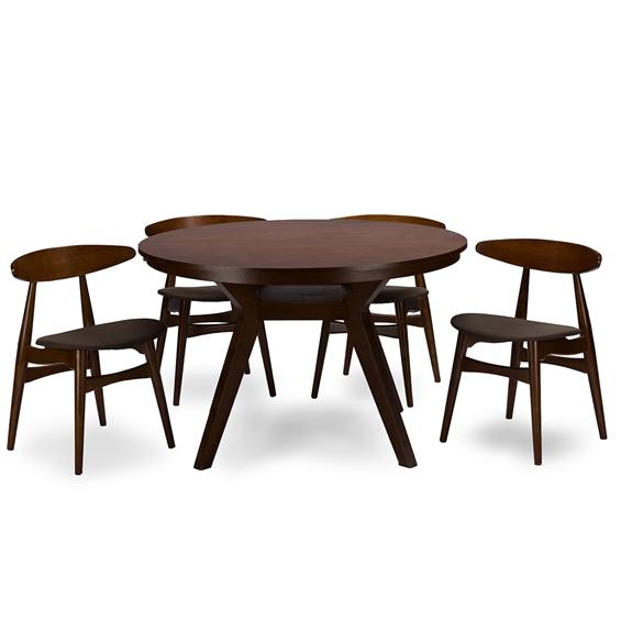 Baxton Studio Flamingo Mid-Century Dark Walnut Wood 5-Piece Dining Set