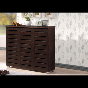 Baxton Studio Adalwin Modern and Contemporary 3-Door Dark Brown Wooden Entryway Shoes Storage Cabinet