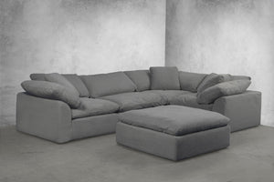 Sunset Trading Cloud Puff 5 Piece Slipcovered Modular L Shaped Sectional Sofa with Ottoman by Sunset Trading - HomeKingz.com - Online furniture shop with the best prices & premium customer support!