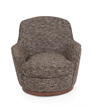 Sunset Trading Heathered Black Brown Soft Tweed Swivel Chair