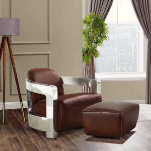 Sunset Trading Milan Leather and Chrome Aviator Armchair with Ottoman by Sunset Trading - HomeKingz.com - Online furniture shop with the best prices & premium customer support!